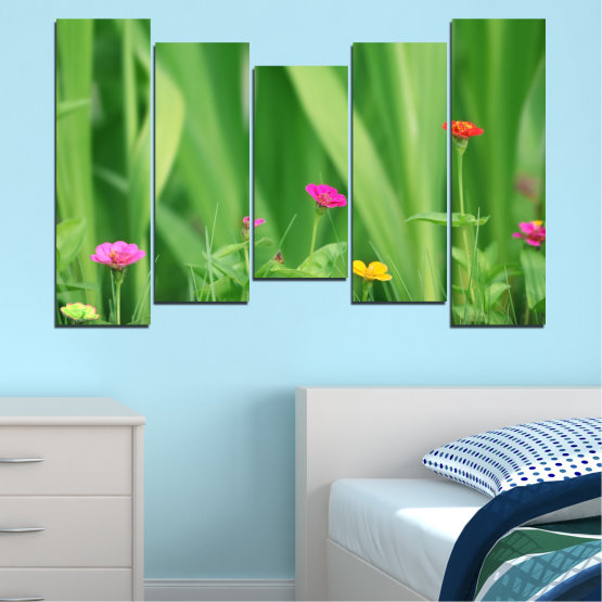 Canvas prints & wall decorative panels - 5 pieces №0210 » Green, Gray » Flowers, Nature, Meadow Form #4