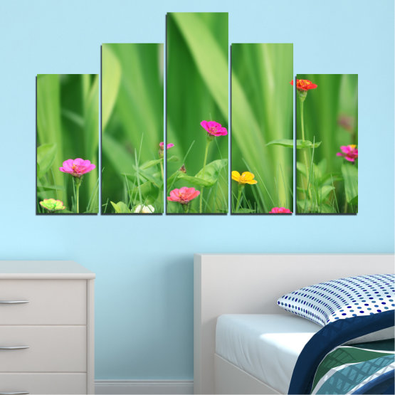 Canvas prints & wall decorative panels - 5 pieces №0210 » Green, Gray » Flowers, Nature, Meadow Form #5