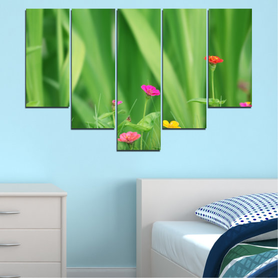 Canvas prints & wall decorative panels - 5 pieces №0210 » Green, Gray » Flowers, Nature, Meadow Form #6