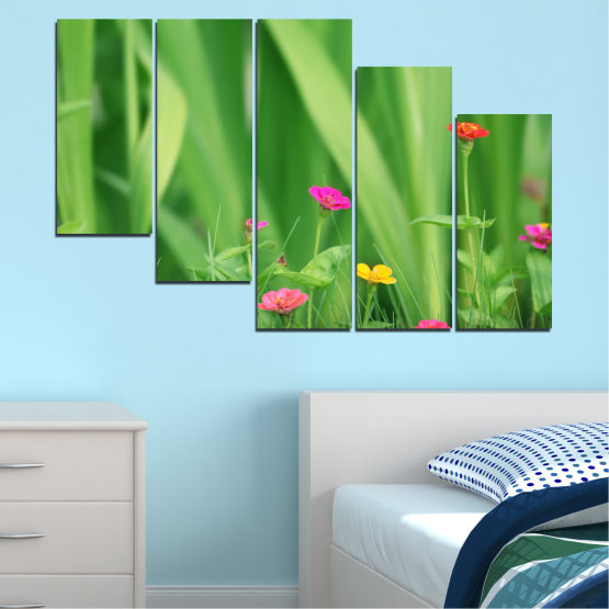 Canvas prints & wall decorative panels - 5 pieces №0210 » Green, Gray » Flowers, Nature, Meadow Form #7