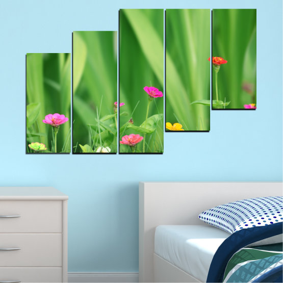 Canvas prints & wall decorative panels - 5 pieces №0210 » Green, Gray » Flowers, Nature, Meadow Form #8