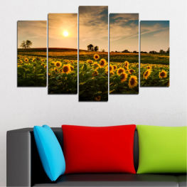 Nature, Landscape, Sunset, Sun, Sunflower, Field » Yellow, Orange, Brown, Black, Beige, Dark grey