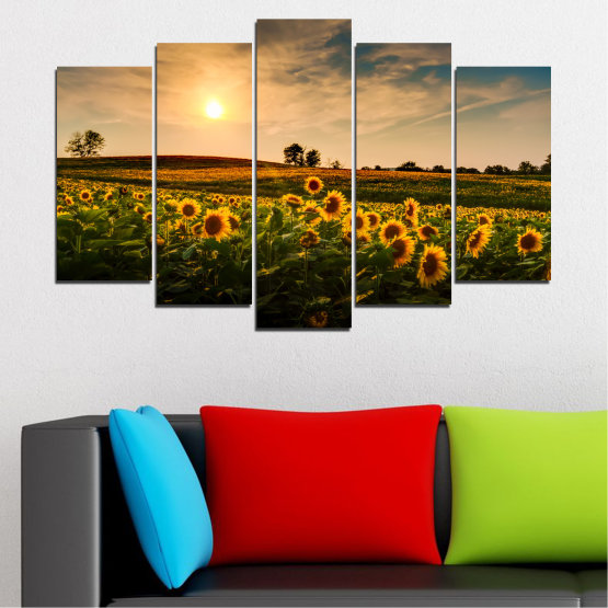 Canvas prints & wall decorative panels - 5 pieces №0212 » Yellow, Orange, Brown, Black, Beige, Dark grey » Nature, Landscape, Sunset, Sun, Sunflower, Field Form #1