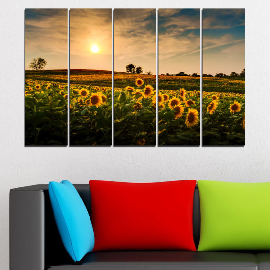 Canvas prints & wall decorative panels - 5 pieces №0212 » Yellow, Orange, Brown, Black, Beige, Dark grey » Nature, Landscape, Sunset, Sun, Sunflower, Field Form #2