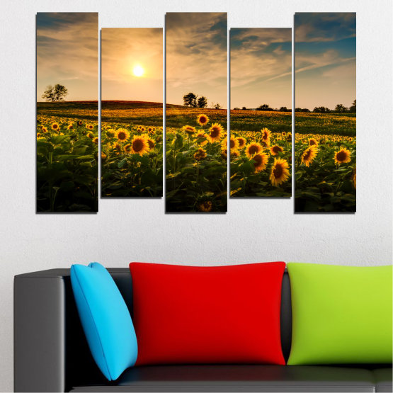 Canvas prints & wall decorative panels - 5 pieces №0212 » Yellow, Orange, Brown, Black, Beige, Dark grey » Nature, Landscape, Sunset, Sun, Sunflower, Field Form #3