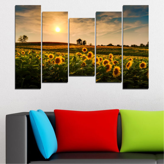 Canvas prints & wall decorative panels - 5 pieces №0212 » Yellow, Orange, Brown, Black, Beige, Dark grey » Nature, Landscape, Sunset, Sun, Sunflower, Field Form #4