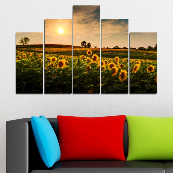Canvas prints & wall decorative panels - 5 pieces №0212 » Yellow, Orange, Brown, Black, Beige, Dark grey » Nature, Landscape, Sunset, Sun, Sunflower, Field Form #5