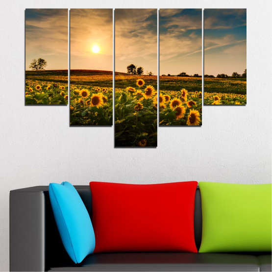 Canvas prints & wall decorative panels - 5 pieces №0212 » Yellow, Orange, Brown, Black, Beige, Dark grey » Nature, Landscape, Sunset, Sun, Sunflower, Field Form #6