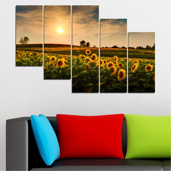 Canvas prints & wall decorative panels - 5 pieces №0212 » Yellow, Orange, Brown, Black, Beige, Dark grey » Nature, Landscape, Sunset, Sun, Sunflower, Field Form #7