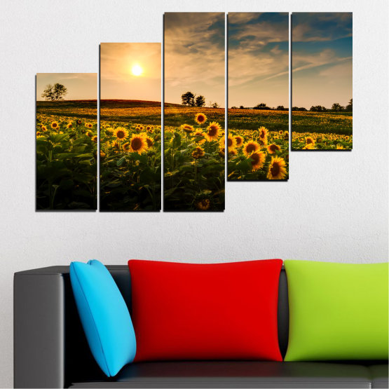 Canvas prints & wall decorative panels - 5 pieces №0212 » Yellow, Orange, Brown, Black, Beige, Dark grey » Nature, Landscape, Sunset, Sun, Sunflower, Field Form #8