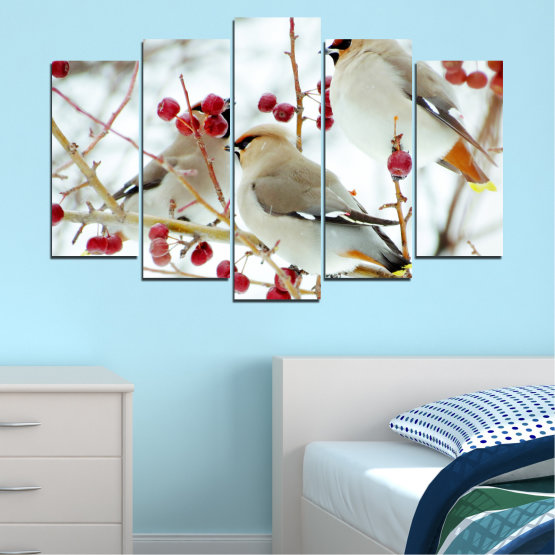 Canvas prints & wall decorative panels - 5 pieces №0213 » Red, Brown, Gray, White » Birds, Snow, Winter Form #1