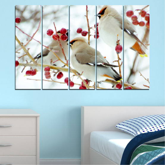 Canvas prints & wall decorative panels - 5 pieces №0213 » Red, Brown, Gray, White » Birds, Snow, Winter Form #2