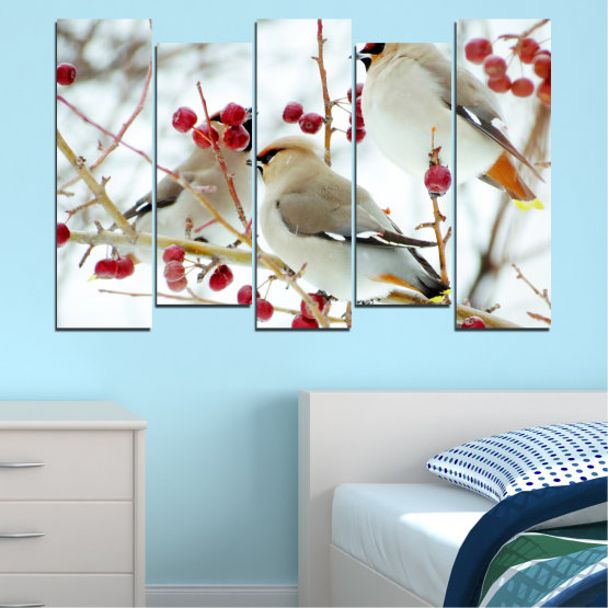 Canvas prints & wall decorative panels - 5 pieces №0213 » Red, Brown, Gray, White » Birds, Snow, Winter Form #3