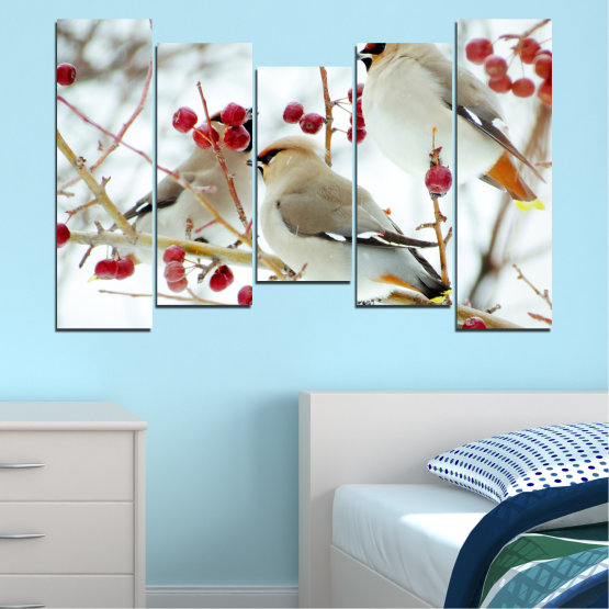 Canvas prints & wall decorative panels - 5 pieces №0213 » Red, Brown, Gray, White » Birds, Snow, Winter Form #4