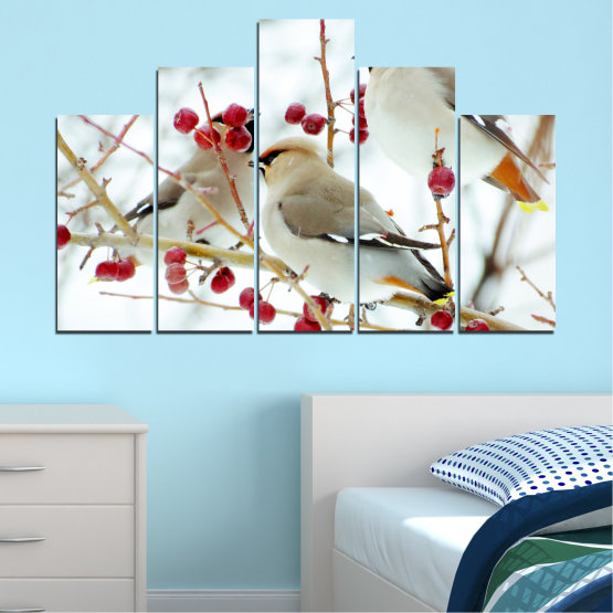 Canvas prints & wall decorative panels - 5 pieces №0213 » Red, Brown, Gray, White » Birds, Snow, Winter Form #5