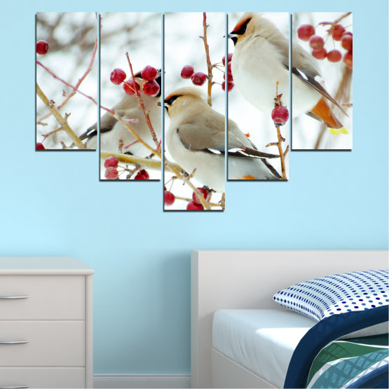 Canvas prints & wall decorative panels - 5 pieces №0213 » Red, Brown, Gray, White » Birds, Snow, Winter Form #6