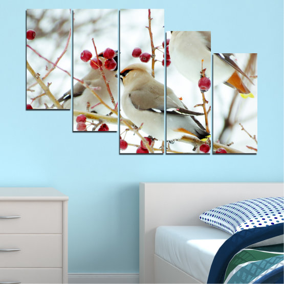 Canvas prints & wall decorative panels - 5 pieces №0213 » Red, Brown, Gray, White » Birds, Snow, Winter Form #7