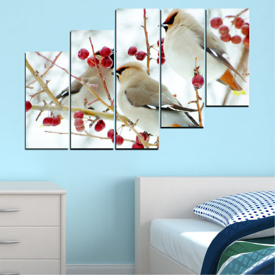 Canvas prints & wall decorative panels - 5 pieces №0213 » Red, Brown, Gray, White » Birds, Snow, Winter Form #8