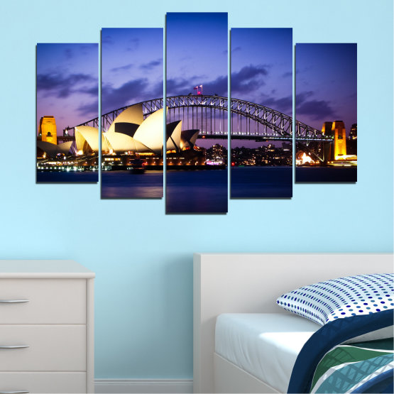 Canvas prints & wall decorative panels - 5 pieces №0214 » Purple, Blue, Black, Gray, Dark grey » Water, City, Night, Bridge, Boat, Australia Form #1