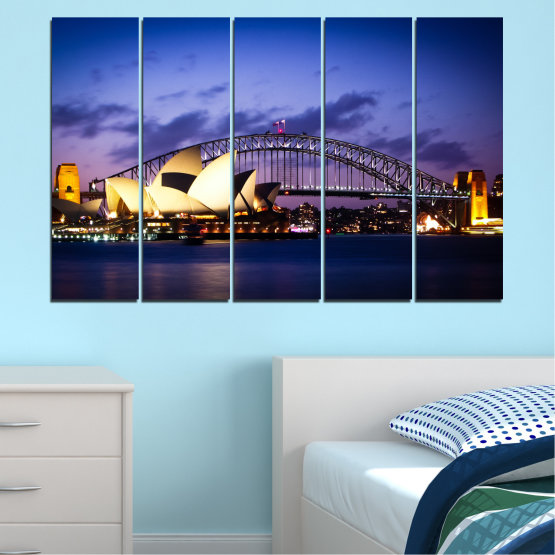 Canvas prints & wall decorative panels - 5 pieces №0214 » Purple, Blue, Black, Gray, Dark grey » Water, City, Night, Bridge, Boat, Australia Form #2