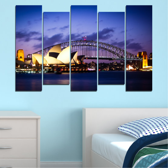 Canvas prints & wall decorative panels - 5 pieces №0214 » Purple, Blue, Black, Gray, Dark grey » Water, City, Night, Bridge, Boat, Australia Form #3