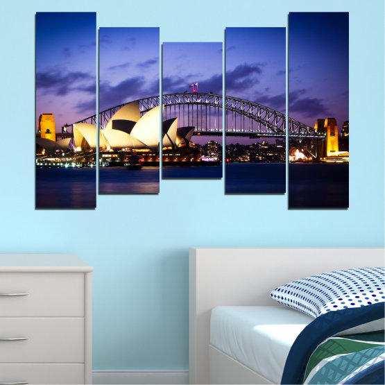 Canvas prints & wall decorative panels - 5 pieces №0214 » Purple, Blue, Black, Gray, Dark grey » Water, City, Night, Bridge, Boat, Australia Form #4