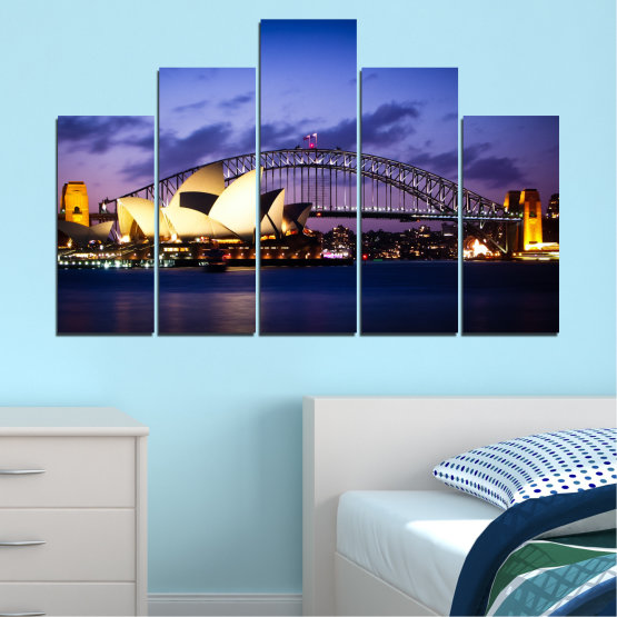 Canvas prints & wall decorative panels - 5 pieces №0214 » Purple, Blue, Black, Gray, Dark grey » Water, City, Night, Bridge, Boat, Australia Form #5