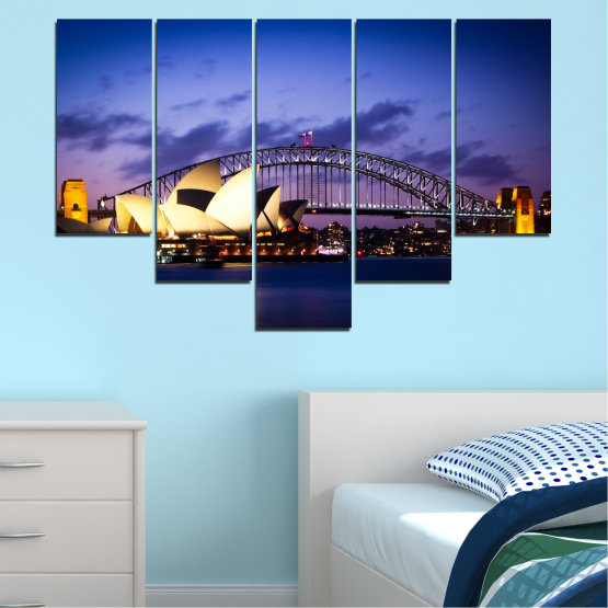 Canvas prints & wall decorative panels - 5 pieces №0214 » Purple, Blue, Black, Gray, Dark grey » Water, City, Night, Bridge, Boat, Australia Form #6