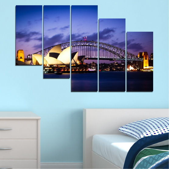Canvas prints & wall decorative panels - 5 pieces №0214 » Purple, Blue, Black, Gray, Dark grey » Water, City, Night, Bridge, Boat, Australia Form #7