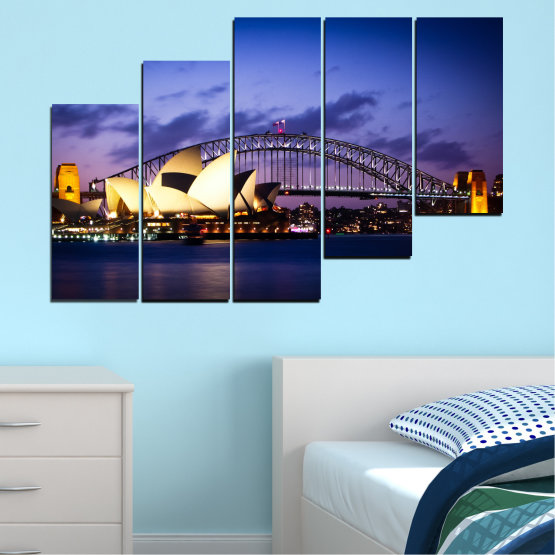 Canvas prints & wall decorative panels - 5 pieces №0214 » Purple, Blue, Black, Gray, Dark grey » Water, City, Night, Bridge, Boat, Australia Form #8