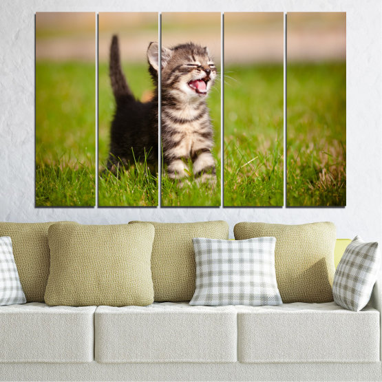 Canvas prints & wall decorative panels - 5 pieces №0215 » Green, Brown, Gray, Beige » Animal, Meadow, Cat Form #2