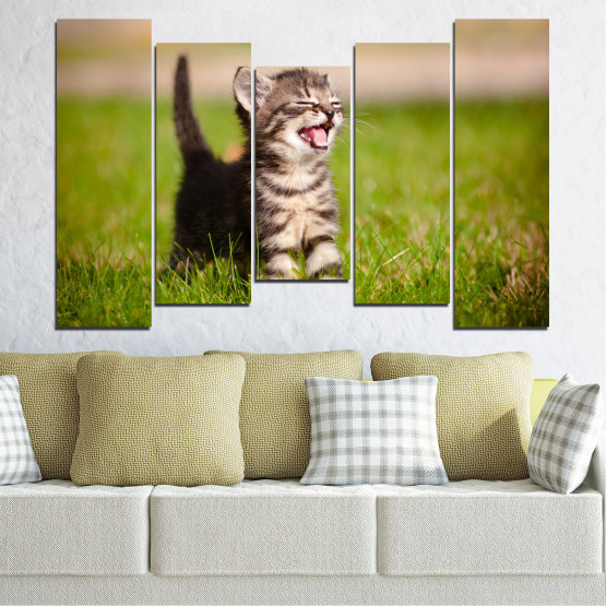 Canvas prints & wall decorative panels - 5 pieces №0215 » Green, Brown, Gray, Beige » Animal, Meadow, Cat Form #4