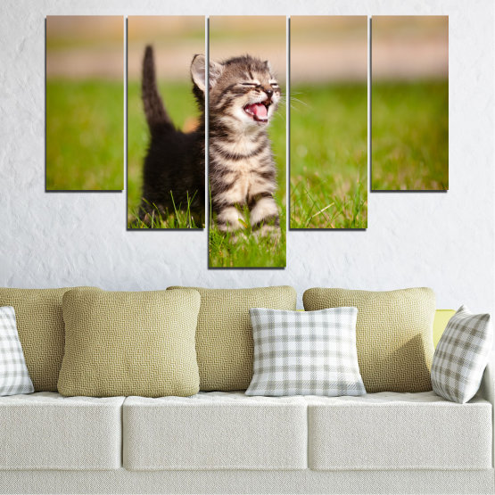 Canvas prints & wall decorative panels - 5 pieces №0215 » Green, Brown, Gray, Beige » Animal, Meadow, Cat Form #6