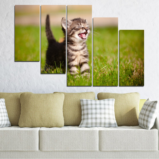 Canvas prints & wall decorative panels - 5 pieces №0215 » Green, Brown, Gray, Beige » Animal, Meadow, Cat Form #7