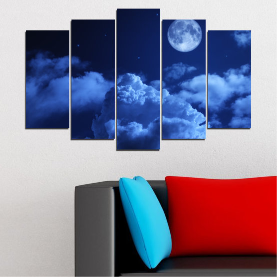 Canvas prints & wall decorative panels - 5 pieces №0216 » Blue, Turquoise, Black, Dark grey » Sky, Moon, Night, Cloud Form #1