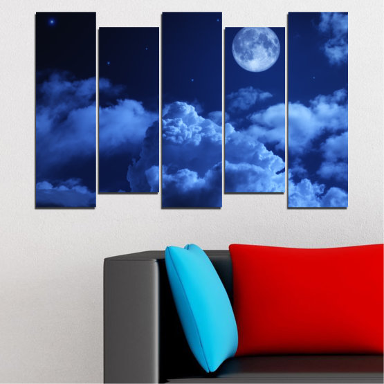 Canvas prints & wall decorative panels - 5 pieces №0216 » Blue, Turquoise, Black, Dark grey » Sky, Moon, Night, Cloud Form #3