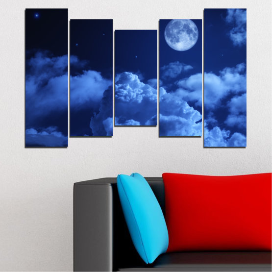 Canvas prints & wall decorative panels - 5 pieces №0216 » Blue, Turquoise, Black, Dark grey » Sky, Moon, Night, Cloud Form #4