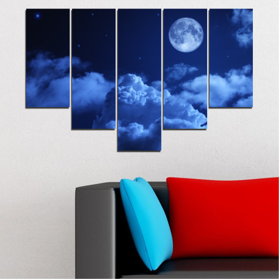 Canvas prints & wall decorative panels - 5 pieces №0216 » Blue, Turquoise, Black, Dark grey » Sky, Moon, Night, Cloud Form #6