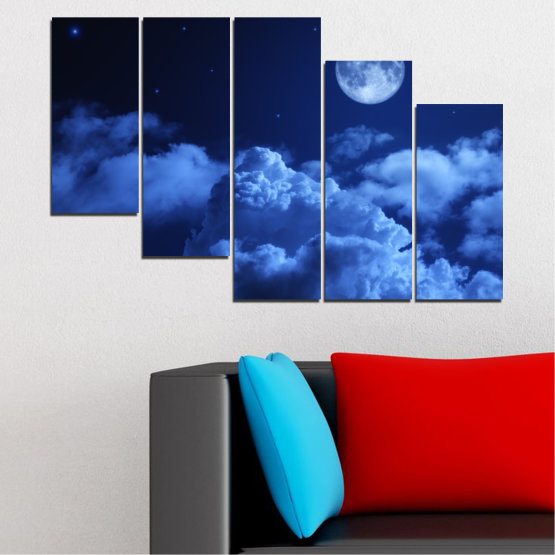 Canvas prints & wall decorative panels - 5 pieces №0216 » Blue, Turquoise, Black, Dark grey » Sky, Moon, Night, Cloud Form #7