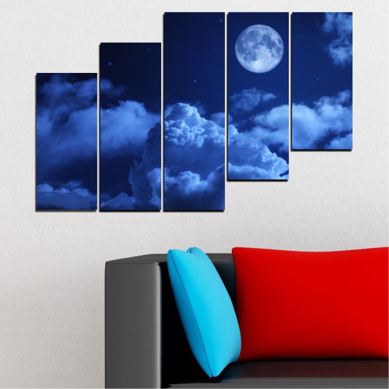 Canvas prints & wall decorative panels - 5 pieces №0216 » Blue, Turquoise, Black, Dark grey » Sky, Moon, Night, Cloud Form #8