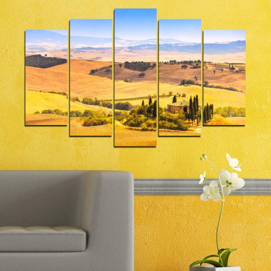 Canvas prints & wall decorative panels - 5 pieces №0217 » Turquoise, Yellow, Orange, Gray, Beige » Nature, Landscape, House, Field Form #1