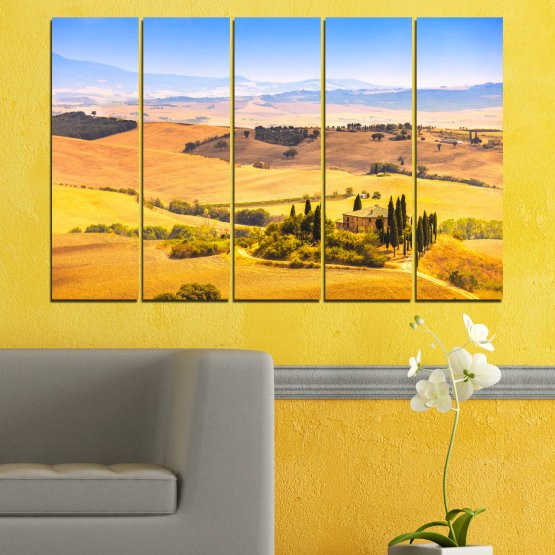 Декоративни панели и картини от канава - от 5 части №0217 » Тюркоаз, Жълт, Оранжев, Сив, Бежов » Природа, Пейзаж, Къща, Поле Form #2