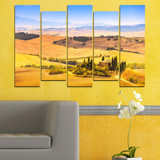 Декоративни панели и картини от канава - от 5 части №0217 » Тюркоаз, Жълт, Оранжев, Сив, Бежов » Природа, Пейзаж, Къща, Поле Form #3