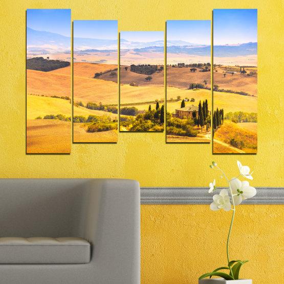 Декоративни панели и картини от канава - от 5 части №0217 » Тюркоаз, Жълт, Оранжев, Сив, Бежов » Природа, Пейзаж, Къща, Поле Form #4