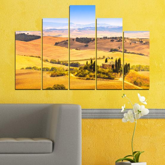 Декоративни панели и картини от канава - от 5 части №0217 » Тюркоаз, Жълт, Оранжев, Сив, Бежов » Природа, Пейзаж, Къща, Поле Form #5