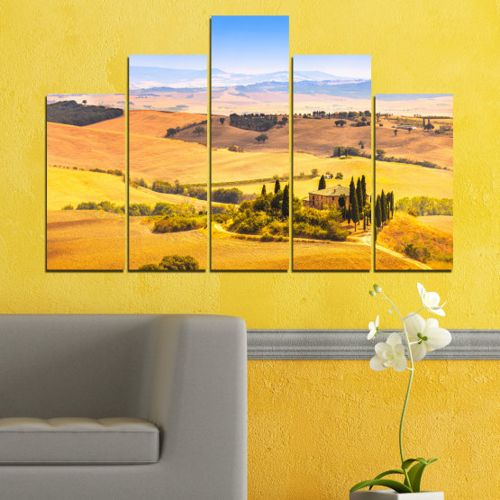 Canvas prints & wall decorative panels - 5 pieces №0217 » Turquoise, Yellow, Orange, Gray, Beige » Nature, Landscape, House, Field Form #5