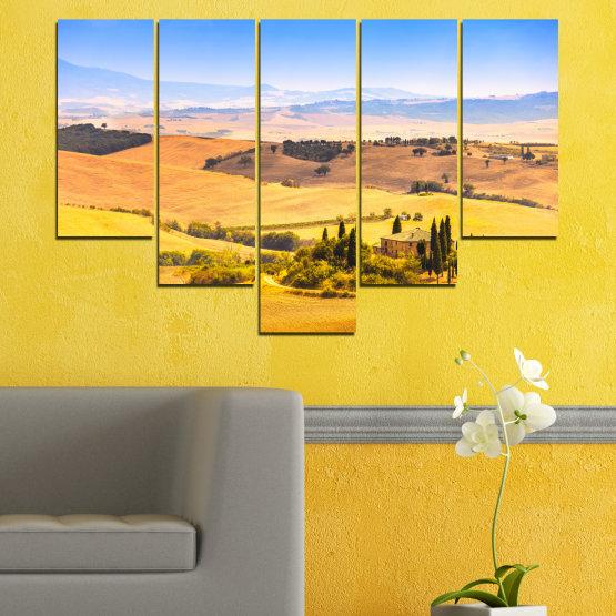 Canvas prints & wall decorative panels - 5 pieces №0217 » Turquoise, Yellow, Orange, Gray, Beige » Nature, Landscape, House, Field Form #6