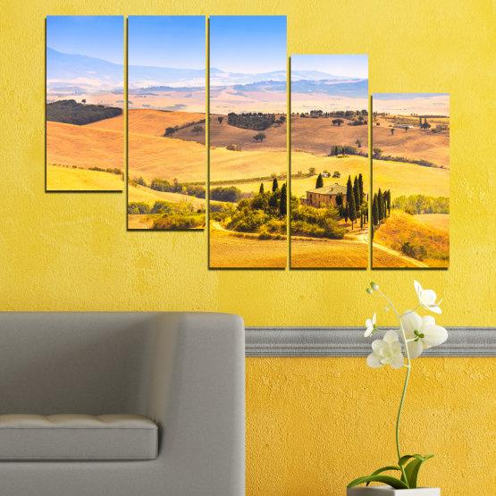 Canvas prints & wall decorative panels - 5 pieces №0217 » Turquoise, Yellow, Orange, Gray, Beige » Nature, Landscape, House, Field Form #7