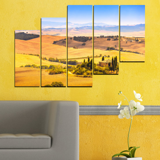 Canvas prints & wall decorative panels - 5 pieces №0217 » Turquoise, Yellow, Orange, Gray, Beige » Nature, Landscape, House, Field Form #8