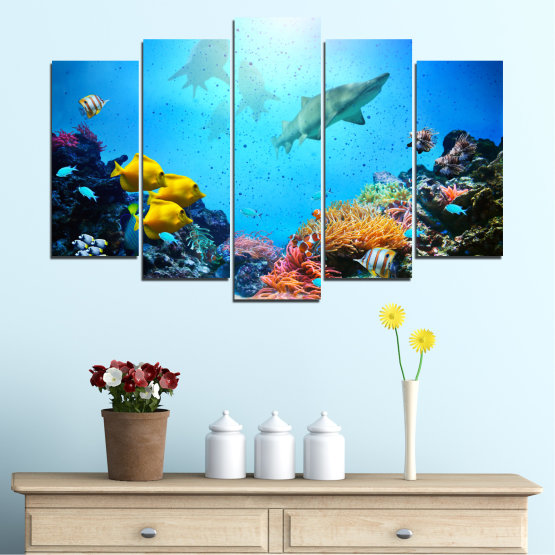 Canvas prints & wall decorative panels - 5 pieces №0218 » Blue, Turquoise, Black, Dark grey » Sea, Water, Fish Form #1